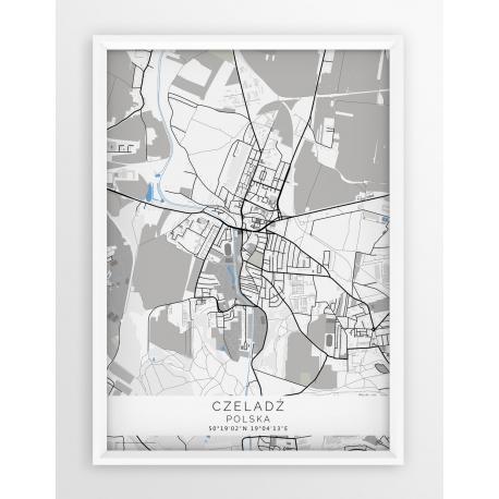 Plakat, mapa CZELADŹ - linia BLUE