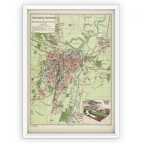 Stara mapa/plan POZNAŃ (1929r) - reprint