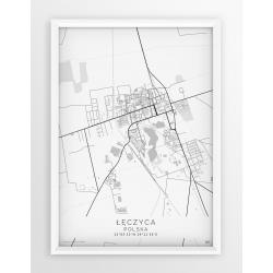 Plakat mapa ŁĘCZYCA - linia WHITE