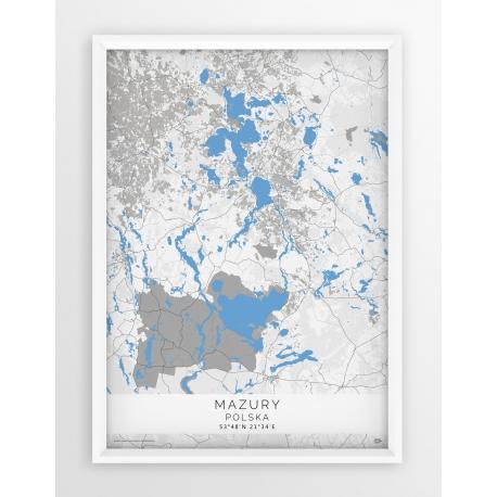 Plakat mapa MAZURY - linia BLUE/GREY