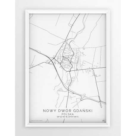 Plakat mapa NOWY DWÓR GDAŃSKI - linia WHITE