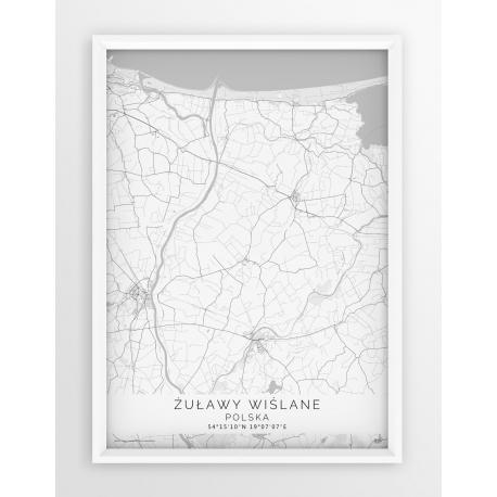 Plakat mapa ŻUŁAWY WIŚLANE - linia WHITE
