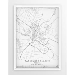 Plakat mapa ZĄBKOWICE ŚLĄSKIE - linia WHITE