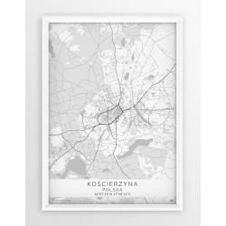 Plakat mapa KOŚCIERZYNA - linia WHITE