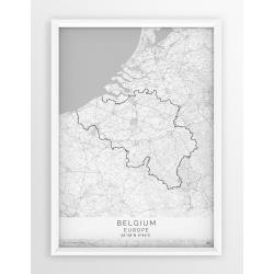 Plakat mapa BELGIA - linia WHITE