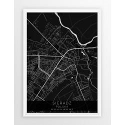 Mapa plakat SIERADZ - linia BLACK