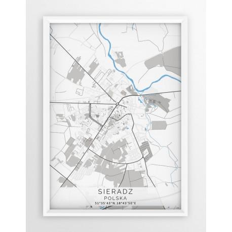 Mapa plakat SIERADZ - linia BLUE/GRAY